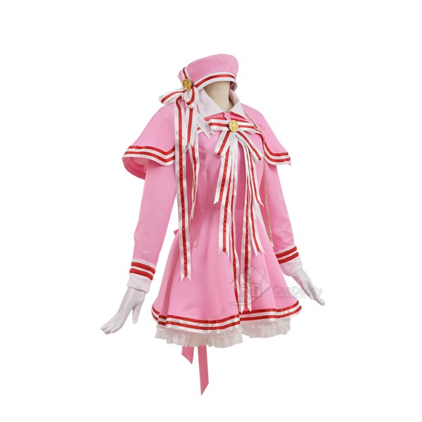 Cosdaddy Card Captor KINOMOTO SAKURA Cosplay Pink Costume Dress