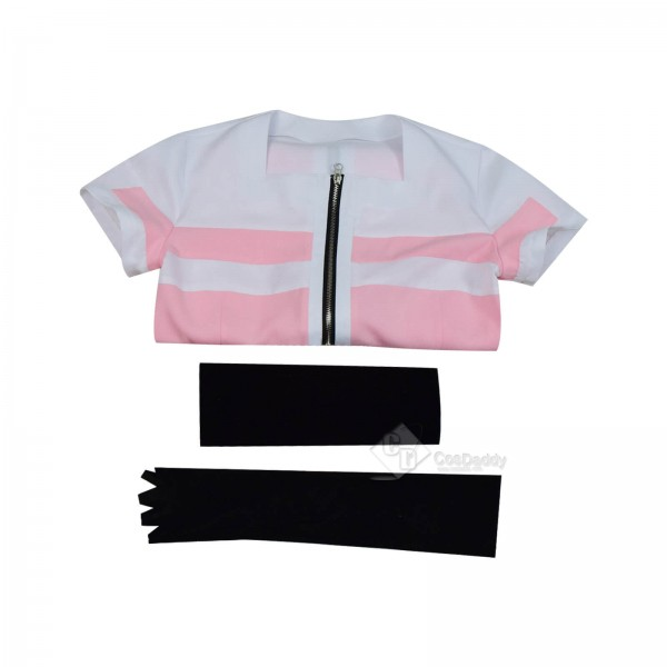 Best Akudama Drive Ordinary Person Zipper Pink Dress Cosplay Costume