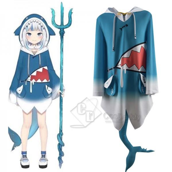 Hololive Vtuber Gawr Gura Cosplay Costume Cute Blue Shark Coat Hoodie Jacket