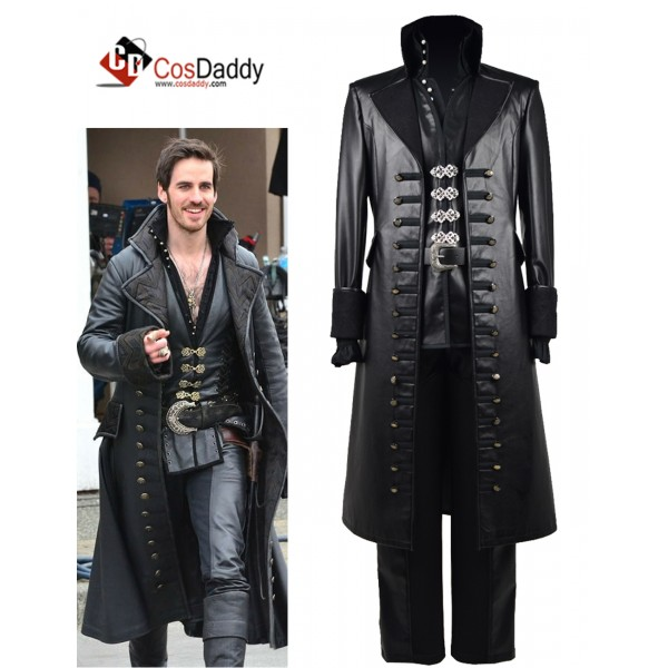 Once Upon A Time Captain Hook Black Jacket Cosplay...