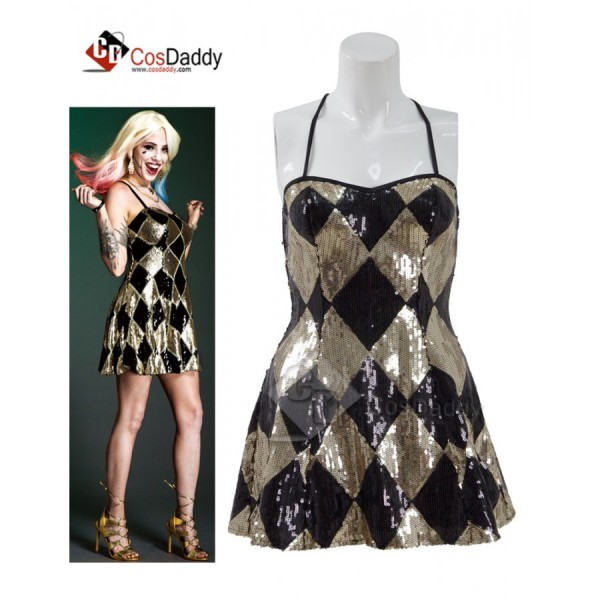 CosDaddy Suicide Squad Harley Quinn Sexy Sequin Shinning Mini  Golden Dress for Halloween&Christmas