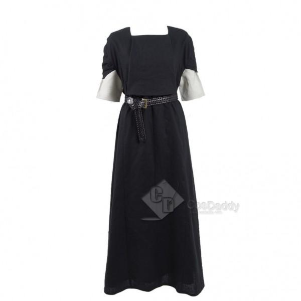 Game of Thrones  Season 6 Arya Stark Black and White House Cosplay Black Long Dress + White Shirt Costume