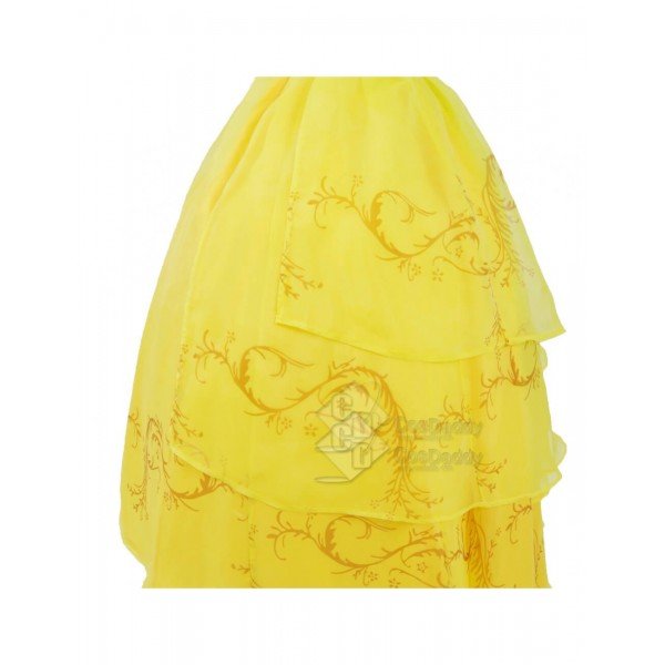 Cosdaddy Beauty and the Beast Movie Princess Belle Yellow Dress Cosplay Costume