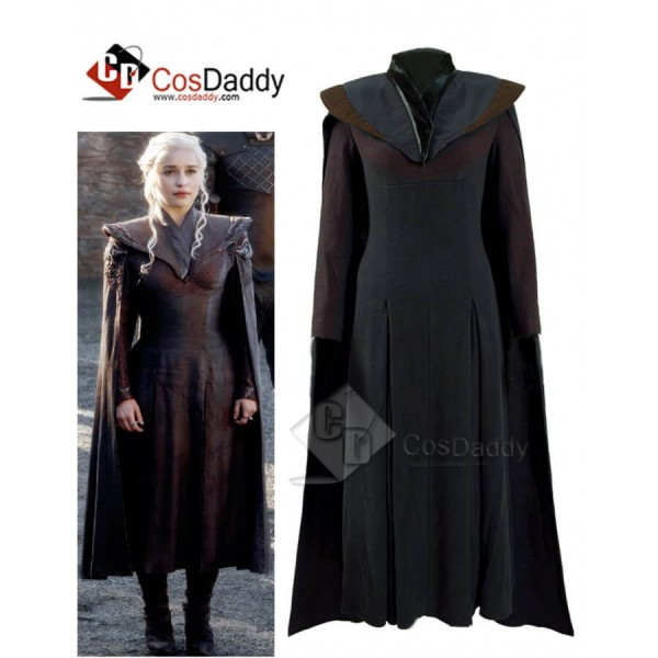 Game of Thrones Season 7 Queen Daenerys Targaryen Black Cape Dress Costume