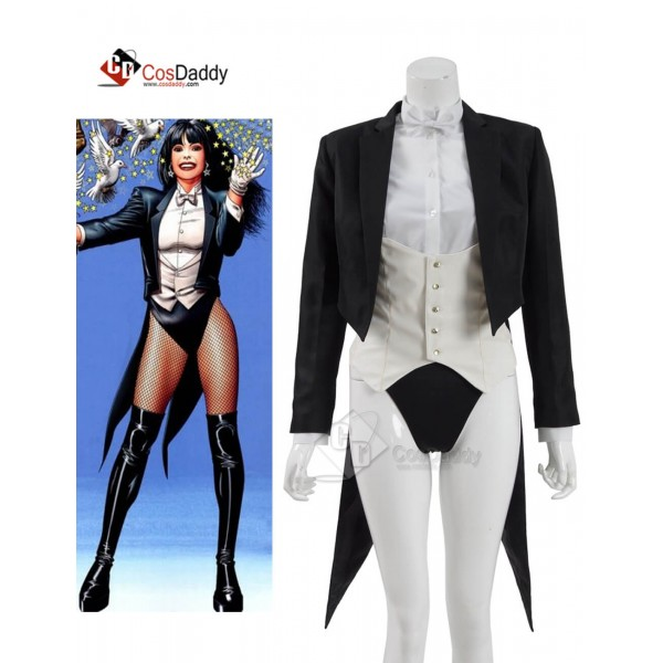 DC Superhero Magic Zatanna Sexy Suit Cosplay Costu...