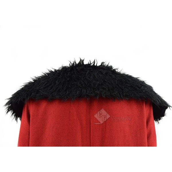 Cosdaddy Red Santa Father Christmas Cosplay Fleece Coat Cape for Christmas