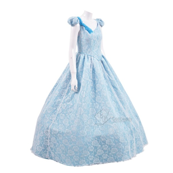 Cosdaddy Once Upon a Time Cinderella Cosplay Blue Flower Long Dress Costume