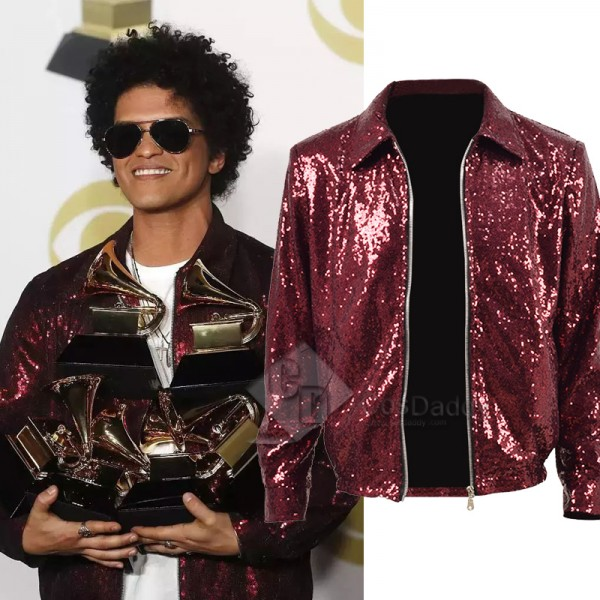 Bruno Mars Red Sequins Jacket Stage Costume for Sh...