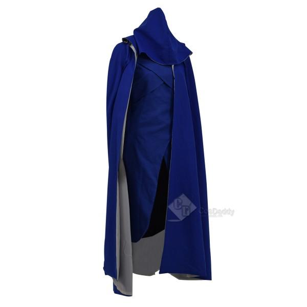 Cosdaddy Game of Thrones Season 7 Daenerys Targaryen Dragon Mother Cosplay Blue Dress Cape Costume