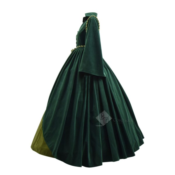Cosdaddy Gone with the Wind Scarlett O'Hara Cosplay Green Dress Costume