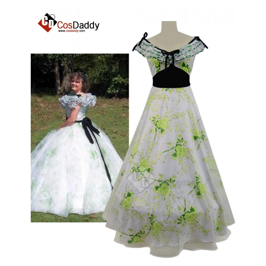 Gone With The Wind Scarlett Dress Green Gown Scarlet Costume cosplay CUSTOM