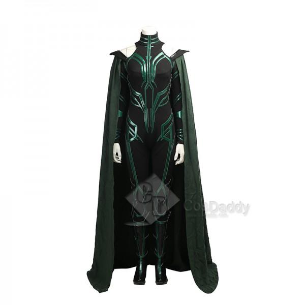 Thor Ragnarok Goddess Of Death Hela Cosplay Costume Dark Green Jumpsuit Full Set