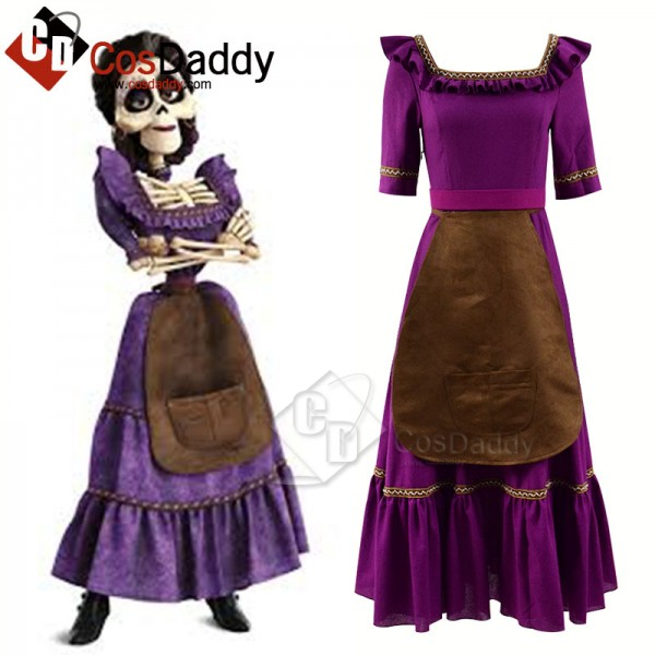 Coco (2017) Mama Imelda Cosplay Costume Purple Dre...