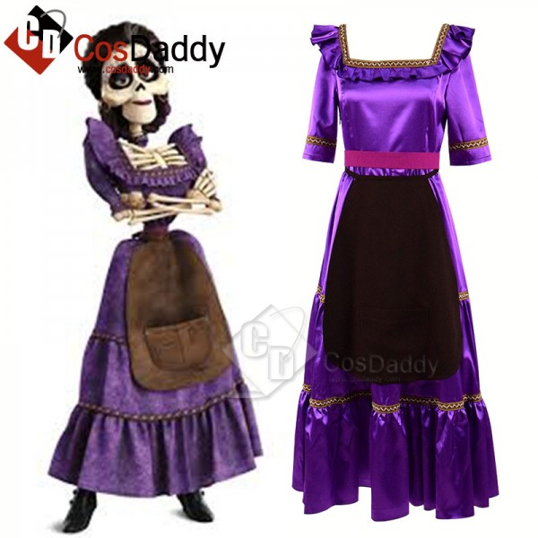 Coco (2017) Mama Imelda Cosplay Costume Light Purp...