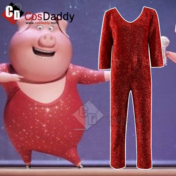 Sing Rossi Pig Red Jumpsuit Cosplay Costume