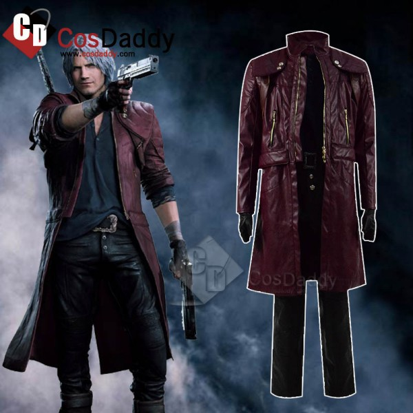 Devil May Cry V 5 DMC 5 Dante Dark Red Leather Jac...