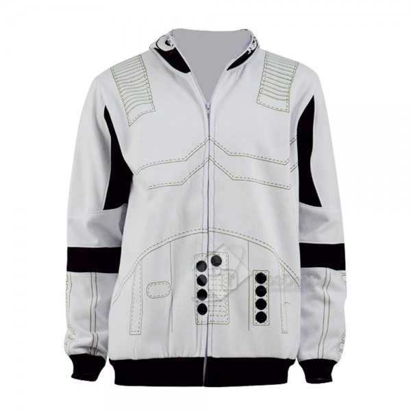 Star Wars Clone Trooper Cosplay Hoodie White Zippe...