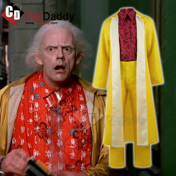 Back to the Future Part II Dr Emmett Brown Coat Full Set Cosplay Costume