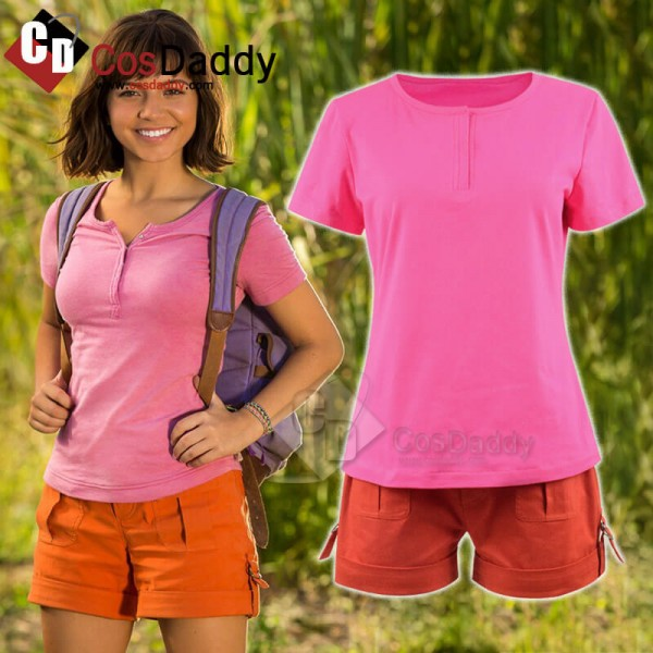 Dora the Explorer Dora and the Lost City of Gold Shirt Short Cosplay Costume For Adults