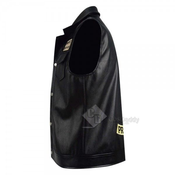 New Mayans MC Ezekiel Reyes Black Leather Vest Cosplay Costume
