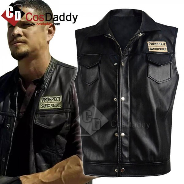 New Mayans MC Ezekiel Reyes Black Leather Vest Cos...