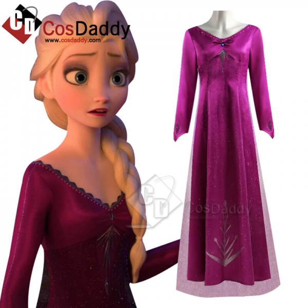 Disney Frozen 2 Elsa Dress Snow Queen Purple Cospl...
