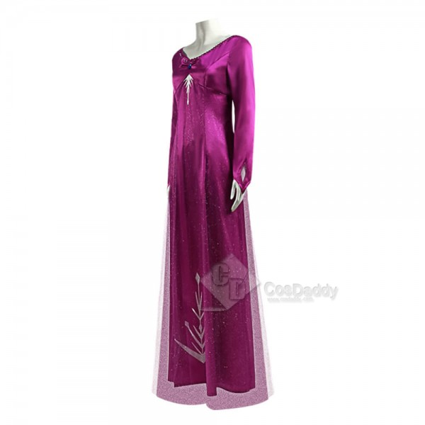 Disney Frozen 2 Elsa Dress Snow Queen Purple Cosplay Costume