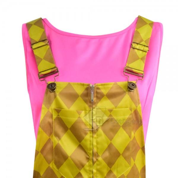 2020 DC Birds of Prey Harley Quinn Yellow Jumpsuit Shirt Cosplay Costume