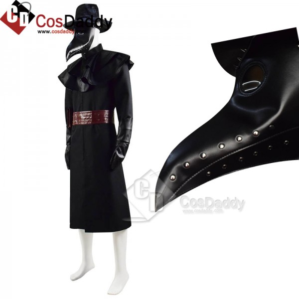 Halloween Plague Doctor Costume Outfit Cosplay Bea...