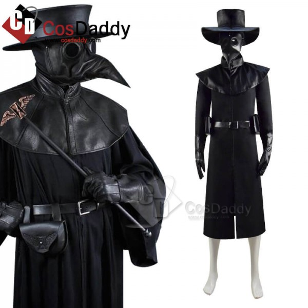 Plague Doctor Costume Hat Steampunk Bird Mask Hall...