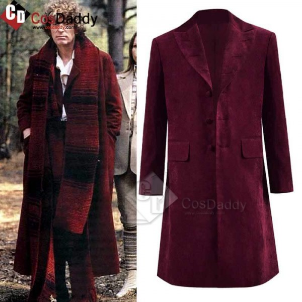 Fourth 4th Doctor Velvet Trench Coat Burgundy Dr. ...