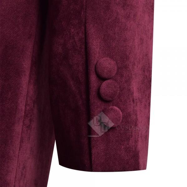 Fourth 4th Doctor Velvet Trench Coat Burgundy Dr. Cosplay Costume
