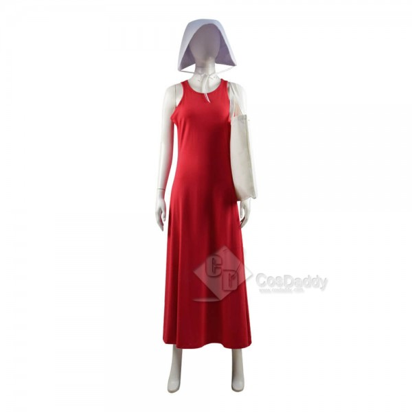 The Handmaid's Tale Cosplay Costume Halloween Red Dress With Bag