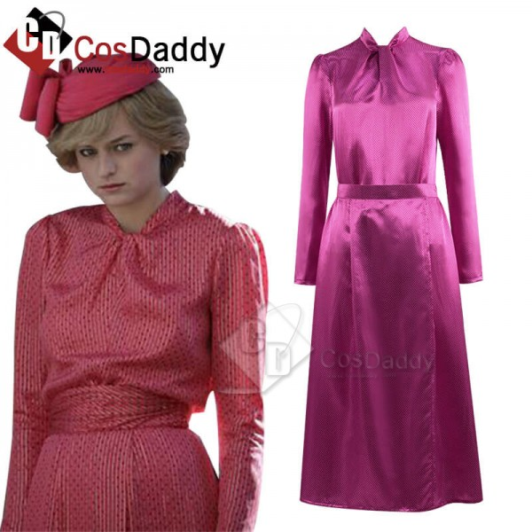 The Crown Season 4 Princess Diana Pink Dress Cospl...