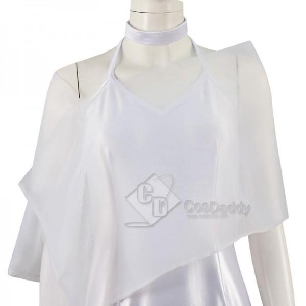 CosDaddy Disney Princess Tiana White Chiffon Princess Dress Cosplay Costume