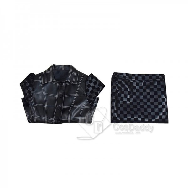 Cruella de Vil Cruella 2021 Outfits Emma Stone Leather Jacket Skirt Suit