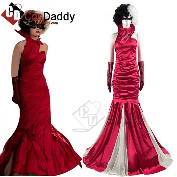 2021 Cruella Deville Cosplay Costume Red Dress Emm...