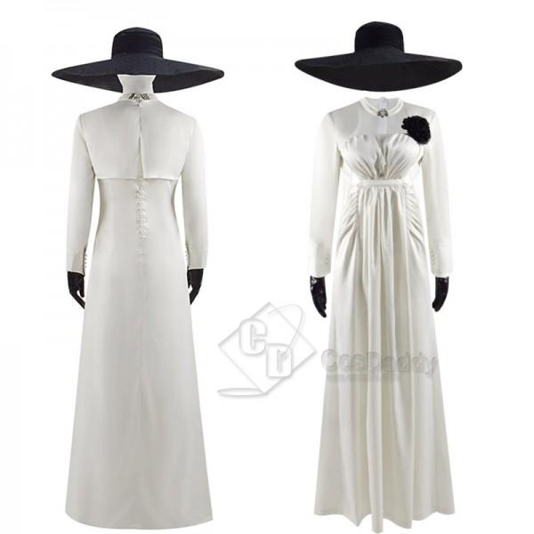 Resident Evil Village Lady Alcina Dimitrescu Cosplay Costume Halloween Carnival Suit White Dress