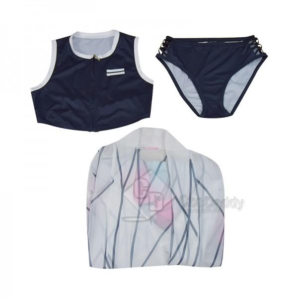 Demon Slayer Kimetsu no Yaiba Kocho Shinobu Butterfly Splitted Swimsuit Vest Shorts Swimwear Bathing Suit