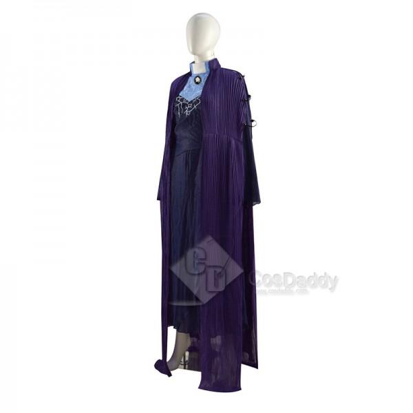 WandaVision Agnes Agatha Harkness Cosplay Costume Purple Cloak Halloween Dress Full Set