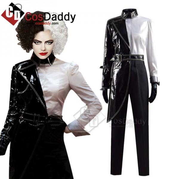 Cruella De Vil Cosplay Costume Cruella Black White...