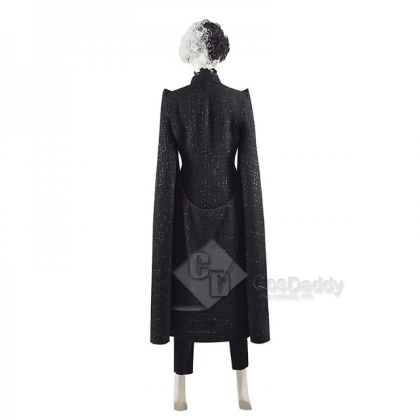 2021 Disney Movie Cruella De Vil Cosplay Costume Black Coat With Wig