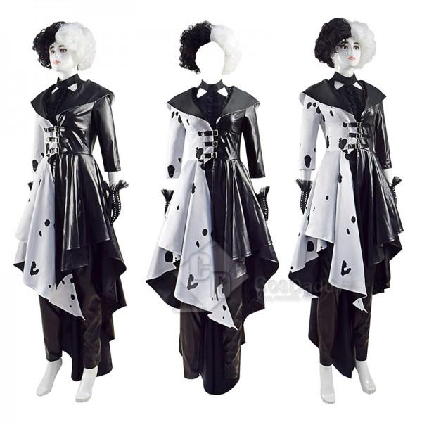 2021 Cruella Dalmatian Coat Costume Cruela Devil Halloween Costumes Ideas Leather Style