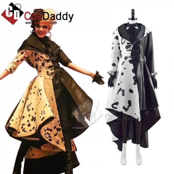 2021 Cruella Dalmatian Coat Costume Cruela Devil H...