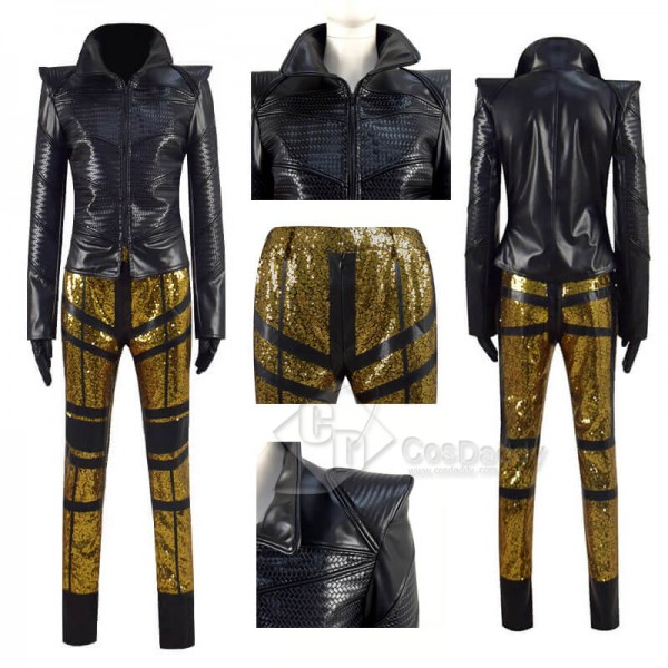 2021 Cruella Black Leather Jacket Cruella de Vil Halloween Carnival Suit Cosplay Costumes
