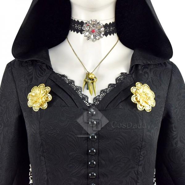 Resident Evil Village Vampire Lady Dimitrescu Daughter Daniela Cosplay Costume Black Dress Outfit