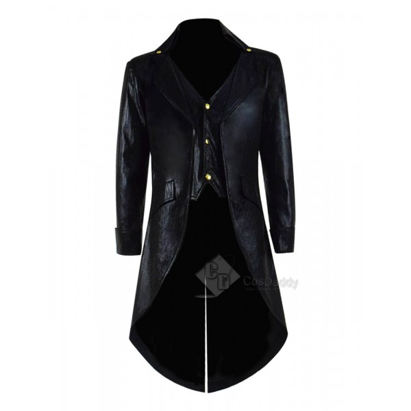 Gothic Steampunk Leather Jacket Costume Black Pins...