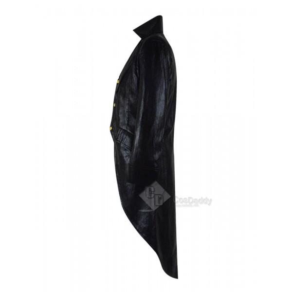 Gothic Steampunk Leather Jacket Costume Black Pinstripe Clothing
