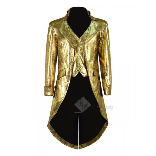 Steampunk Fashion Tailcoat Victorian Gothic Leather Jacket Litchi Pattern Costume