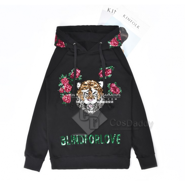 Taylor Swift Love What You Made You Do Same Style Tiger Head Paillette  Flower Design Hoodies